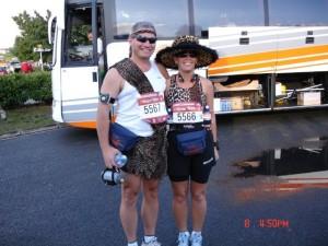 Cynthia and David running as Tarzan and Jane