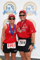 David and Cynthia with Medals after Finish of Lewis and Clark Marathon