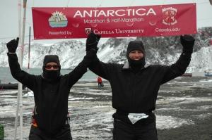 David and Cynthia Antarctica Marathon Finish Line Photo