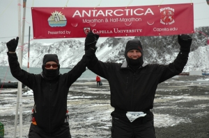 David and Cynthia Antarctica Marathon Finish Line Photo